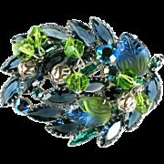 SALE Shades of Green and Blue Art Glass Rhinestone Dangles Brooch