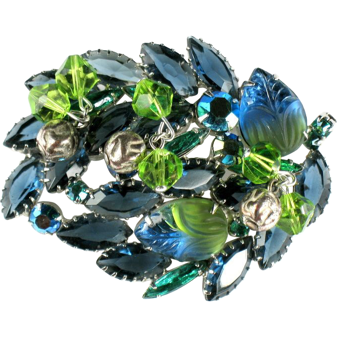Shades of Green and Blue Art Glass Rhinestone Dangles Brooch