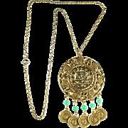 SALE Goldette Asian Theme Pendant Necklace