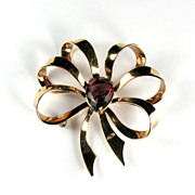 Amethyst Colored Glass Stone Bow Brooch