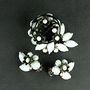 DeLizza and Elster Juliana White Rhinestone Black Flowers Brooch and Earrings