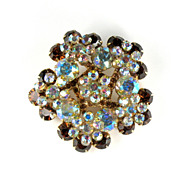 DeLizza and Elster Juliana Topaz AB Rhinestone Flower Brooch