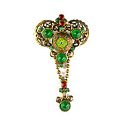 SALE DeLizza and Elster Juliana Red Green Yellow Moroccan Matrix Brooch