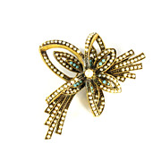 Florenza Faux Seed Pearl and Turquoise Flower Brooch