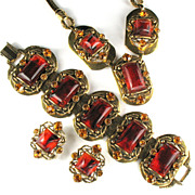 SALE Selro Root Beer Cabochon Rhinestone Necklace, Bracelet and Earrings