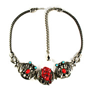 SALE Red Noh Mask Butterflies Necklace by Selro