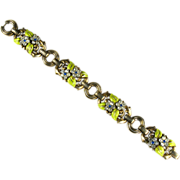 SALE Trifari Enamel and Rhinestone Flower Leaves Bracelet