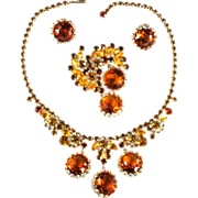 SALE DeLizza and Elster Juliana Topaz Rhinestone Necklace, Brooch and Earrings