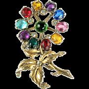 SALE Colorful Cabochon Huge Flower Brooch