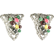 Colorful Flower Leaf Pave Rhinestone Pair of Dress Clips