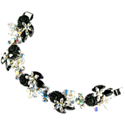 SALE Black Roses Rhinestone Bead Bracelet