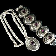 SALE Selro Amethyst Rhinestone Pendant Locket and Bracelet