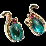 SALE Trifari Green Cabochon Rhinestone Earrings
