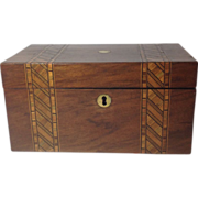 English Victorian Walnut Double Tea Caddy with Geometric (Marquetry) Inlay