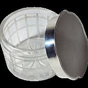 REDUCED 1937 English Cut Glass / Sterling Silver Lidded Dresser Jar