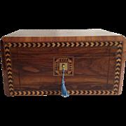 Walnut Sewing Box, English Victorian Tunbridgeware