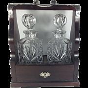 Edwardian Mahogany Tantalus With Two Glass Bottles & Key