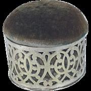 SALE C.1900 English Silver Plated Pin Cushion/Jewelry Keeper