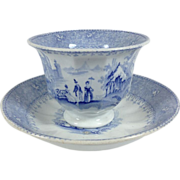 SALE 1838-1840 English Blue and White Transfer ware Handleless Cup and Saucer
