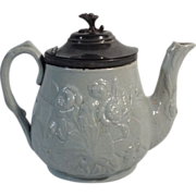 C.1860 English Gray-Blue Stoneware Tea Pot