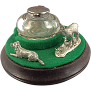 Glass Ink Well On Mahogany Pedestal with Pewter Standing Deer and Reclining Dog Figurines
