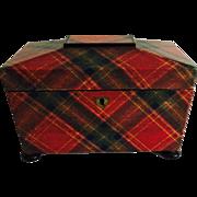Victorian Tartan Ware Tea Caddy