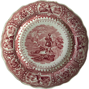 """Staffordshire Transfer Ware Red and White  Plate   """"Caledonia"""""""