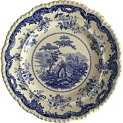 "Minton Blue and White Transfer Ware  10 1/4"" Plate, C. 1830"