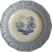 "English C.1850 Blue and White 10"" Ironstone Plate"