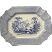 English Staffordshire Blue and White Transfer Ware 15 1/2 inch Platter, 1841-1847