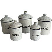 Blue and White French Enamelware Canister Set