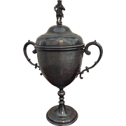 """Trophy Loving Cup with Figurine Lid, 15"""" Tall"""