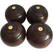 Set of Four English Bowling Balls, British Isles Bowling Council Stamp