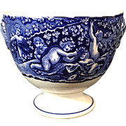 Dark Blue English  Transfer Ware   Wine Cup 'Bacchanalian Cherubs'