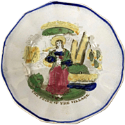 """""""Pride of the Village"""" Childrens English Plate  C.1850"""