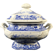 English  1824 Blue and White Transfer Ware Tureen with Under Plate Set