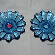 SOLD Fostoria Blue Candle Holders ~ Pair