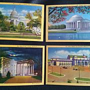 Vintage Curteich Washington DC Historical Postards Set of 4