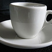 Jackson China Vitrified White Demitasse Cup and Saucer