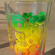 Federal Glass Colored Mixed Drink Recipe Glass Shaker