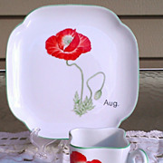 SALE PENDING Toko Botanical Art Collection August Cup & Plate Set by Y. Ohta