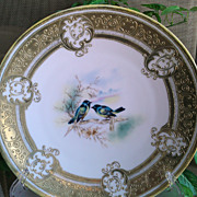 Hand Painted Early Nippon Blue Bird Decorative Plate