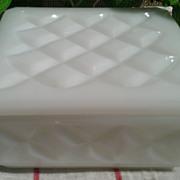 Milk Glass Square Lidded Trinket Box
