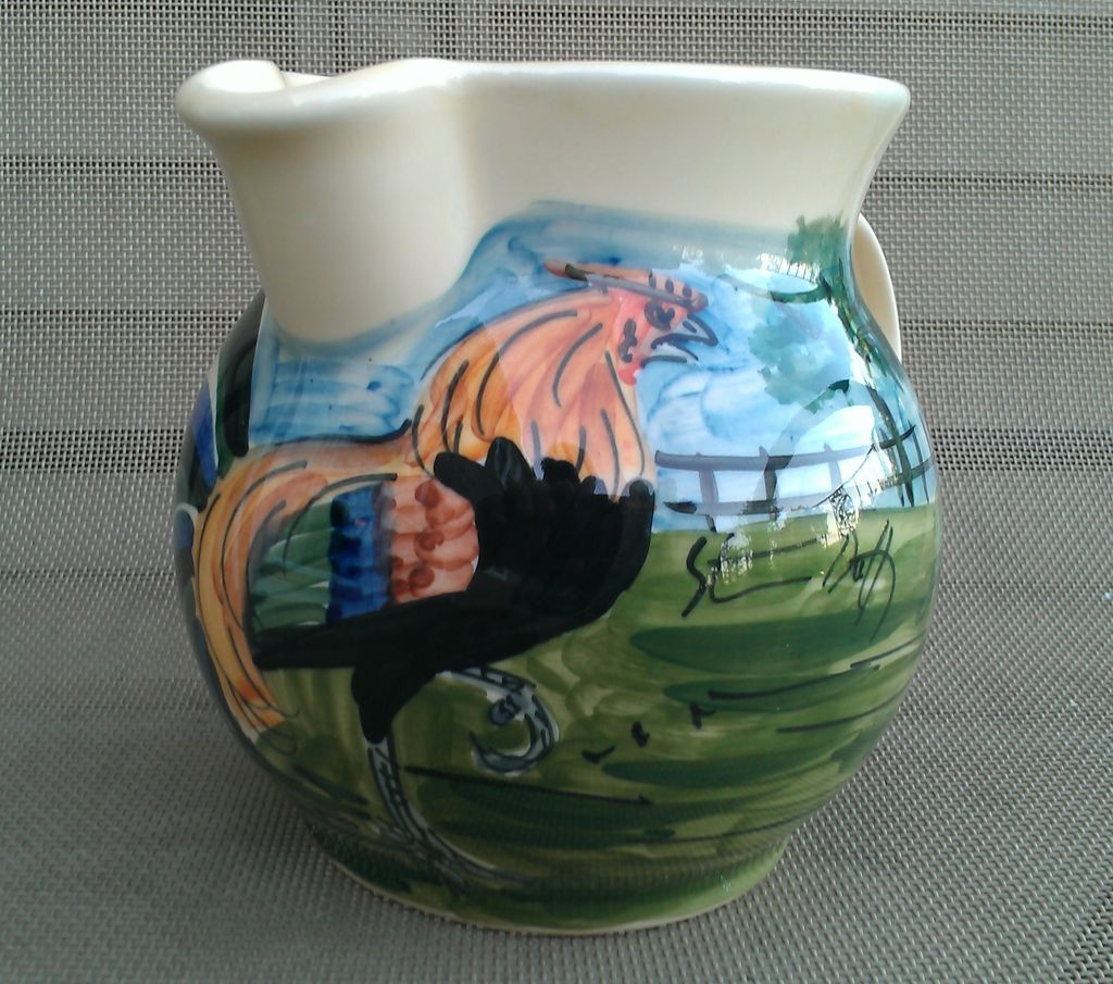 Iden Pottery English Rooster Pitcher Jug For Colonial