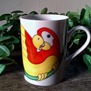 Fitz & Floyd Parrot-in-Ring Mug Set 1979
