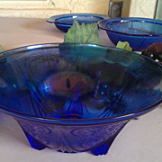 Hazel Atlas Royal Lace Cobalt Blue Three Toed Bowl