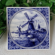 SOLD Royal Delft Blue Windmill Large Tile Wall Hanging