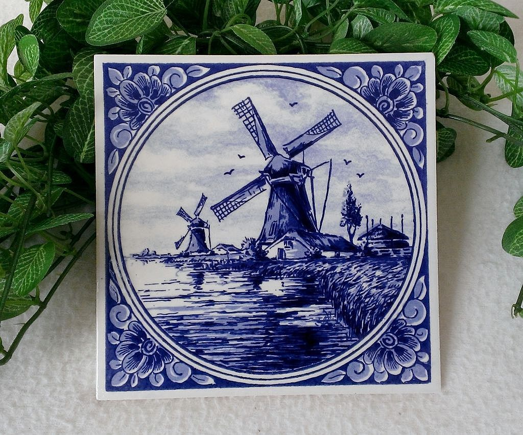 Royal Delft Blue Windmill Large Tile Wall Hanging from ...
