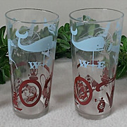 SOLD Vintage Colonial Americana Highball Glass Set
