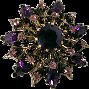 Coro Amethyst & Pink Rhinestone Crystal Brooch
